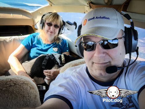 Pam and Steve on a Pilot.Dog rescue flight.