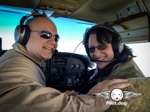 Pilot Steve and Mary Margaret ride up front.