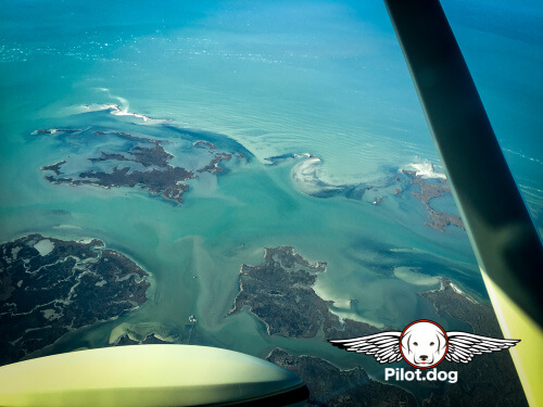 Flying over the Chesapeake Bay.