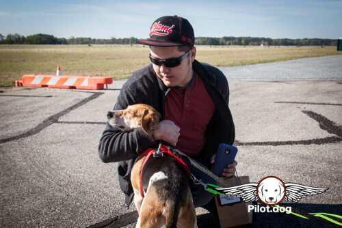 Here is Boscoe getting a hug from his foster father who helped nurse him back from the brink of death from heartworms.  We proudly flew Boscoe towards his furever home.